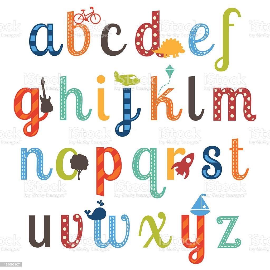 Colorful little-boy themed alphabet set vector art illustration