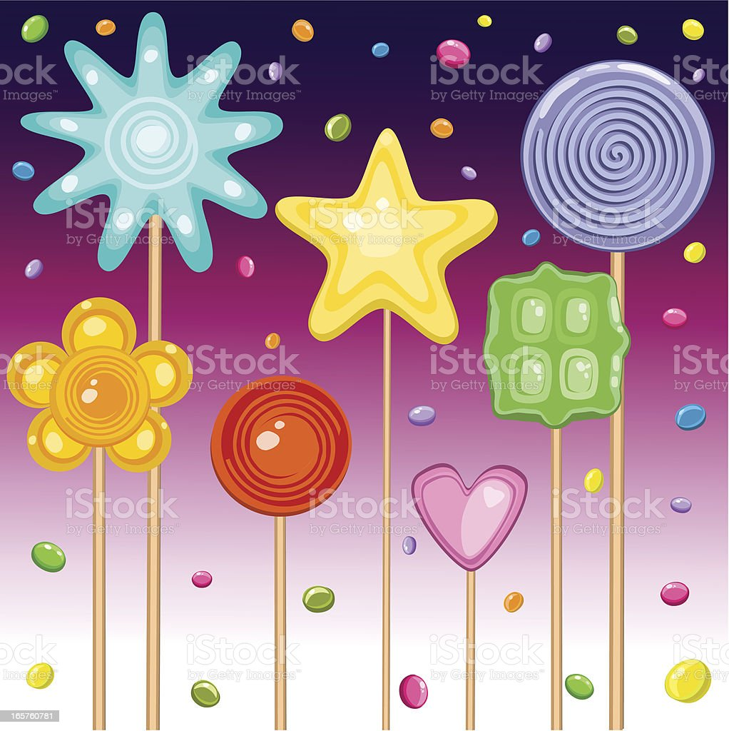 Colorful Lollipops And Falling Candies vector art illustration