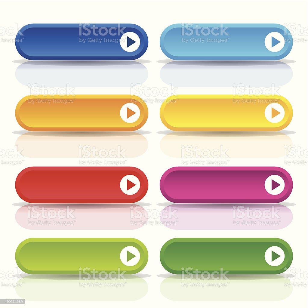 Colorful long round button set royalty-free stock vector art