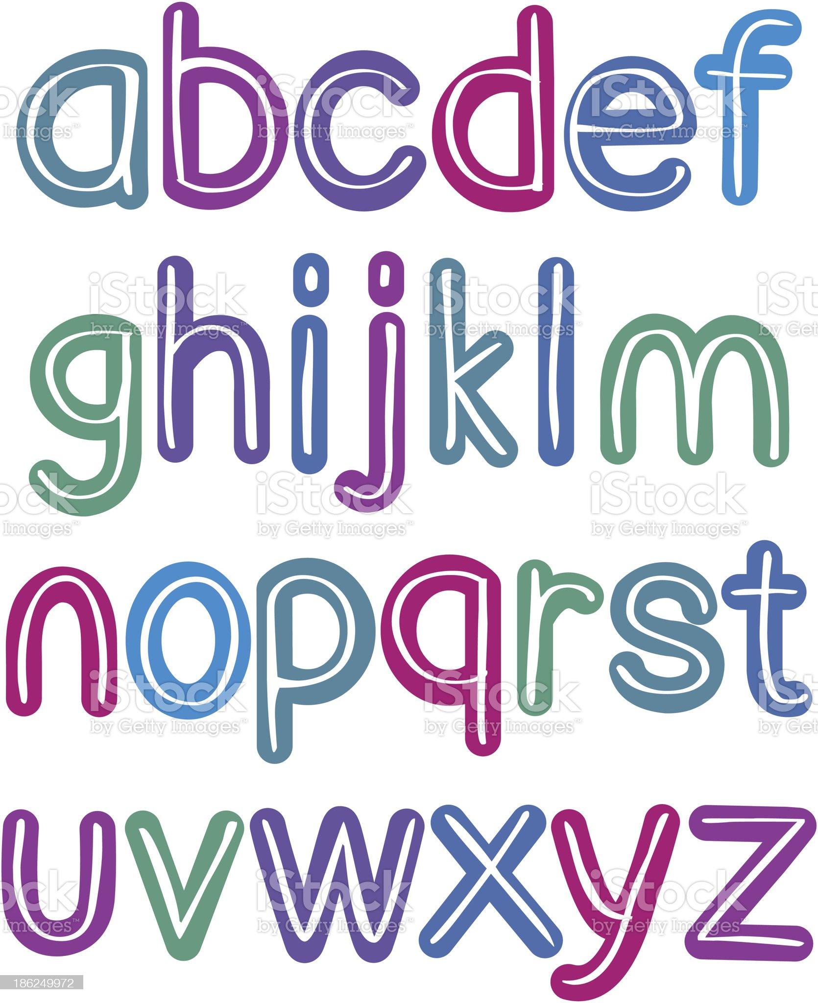 Colorful lower case brush alphabet royalty-free stock vector art
