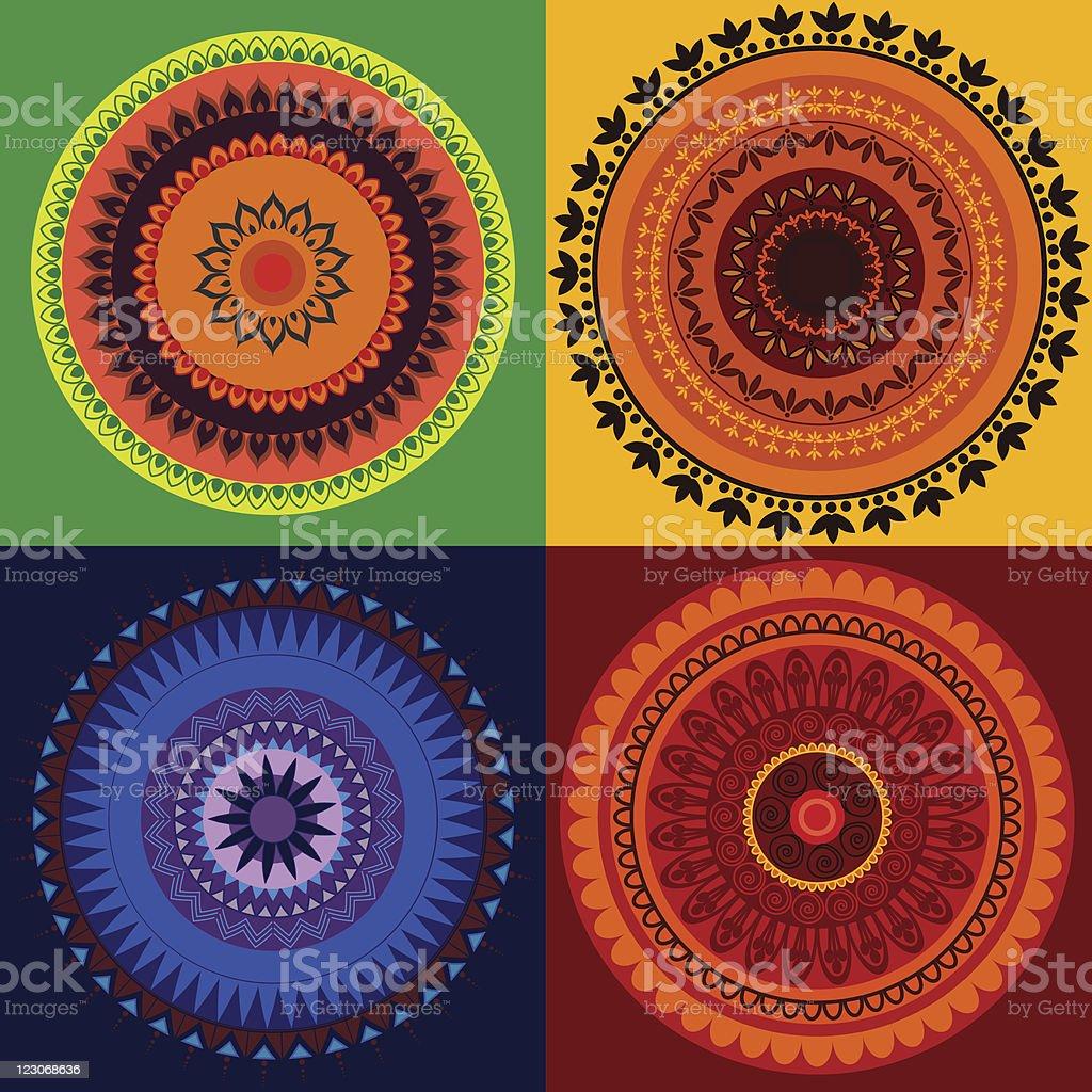 Colorful Mandala Designs royalty-free stock vector art