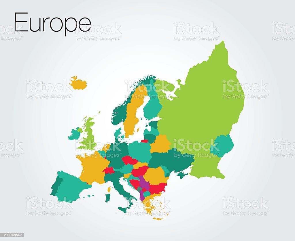 Colorful map of Europe background vector art illustration