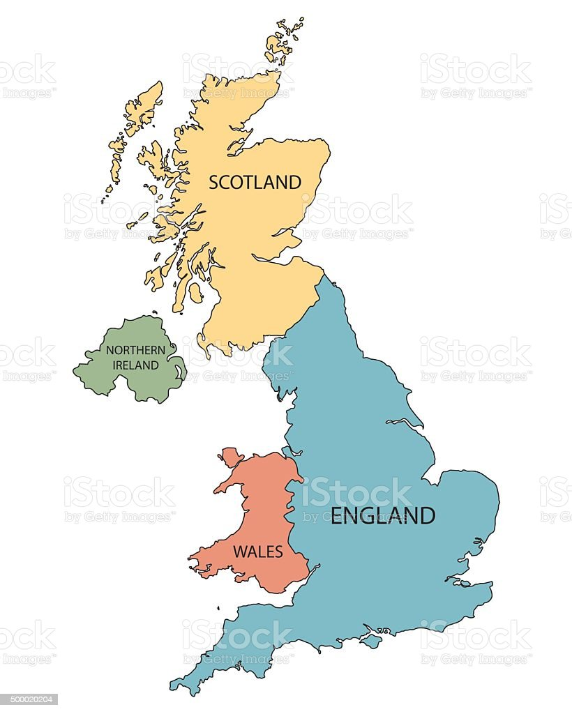colorful map of United Kingdom countries vector art illustration