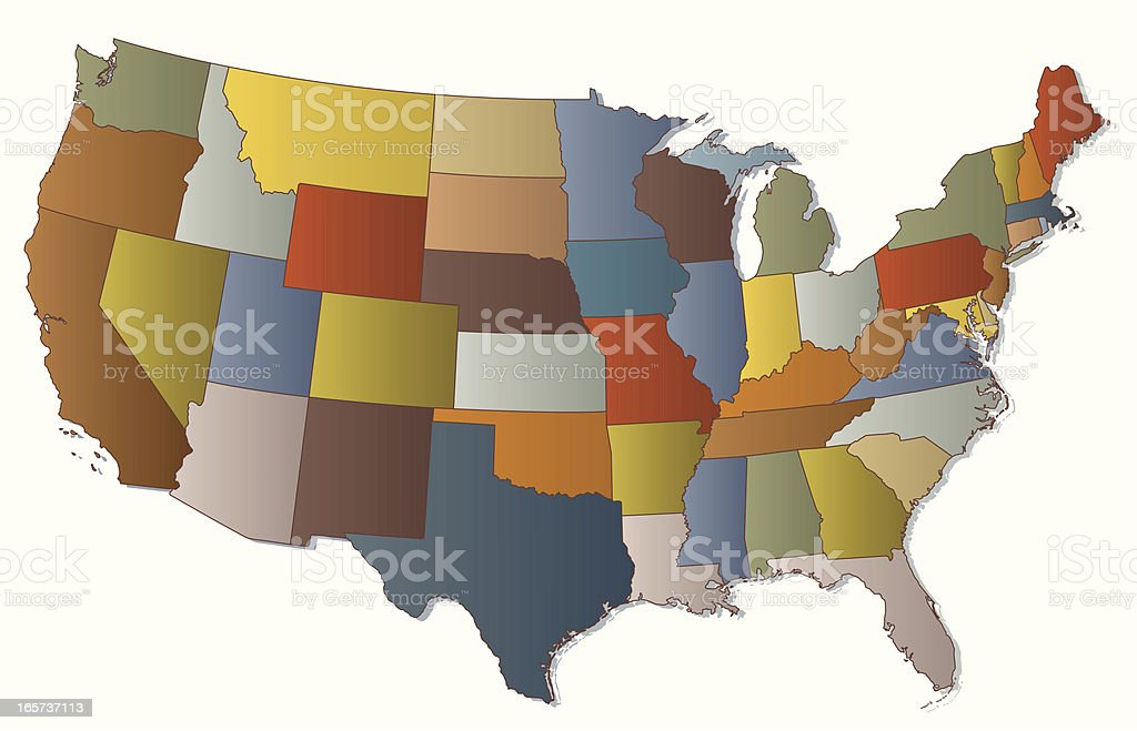 Colorful Map of USA royalty-free stock vector art