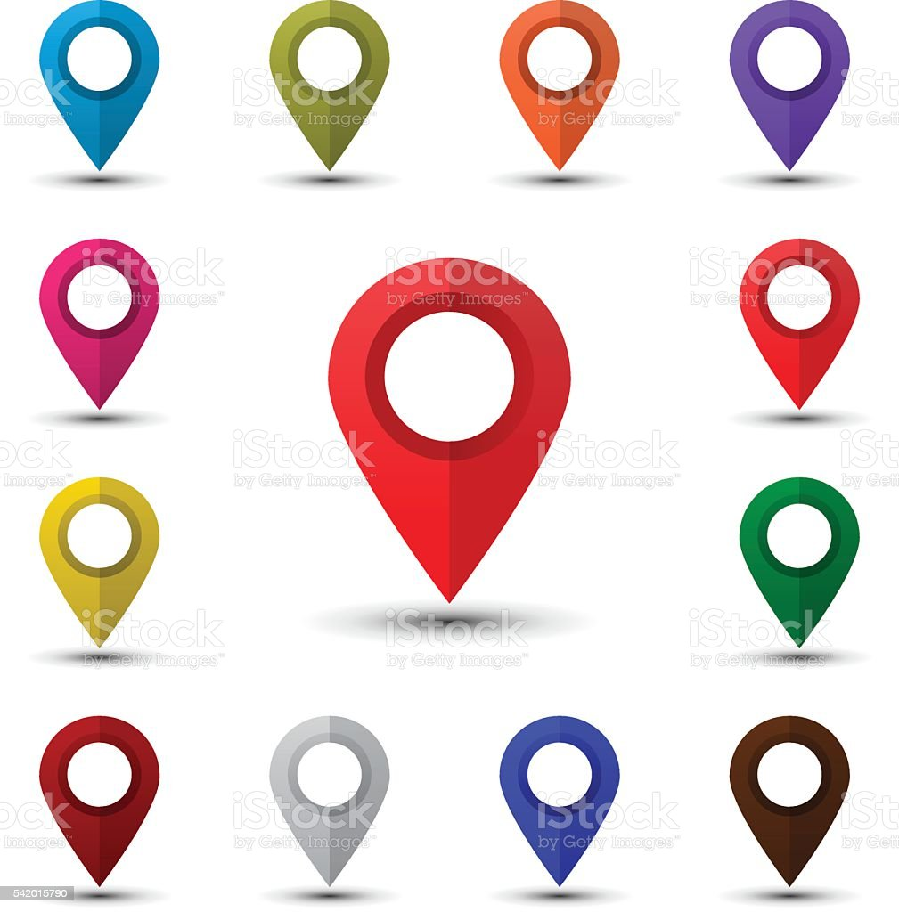 Colorful map pointers vector art illustration
