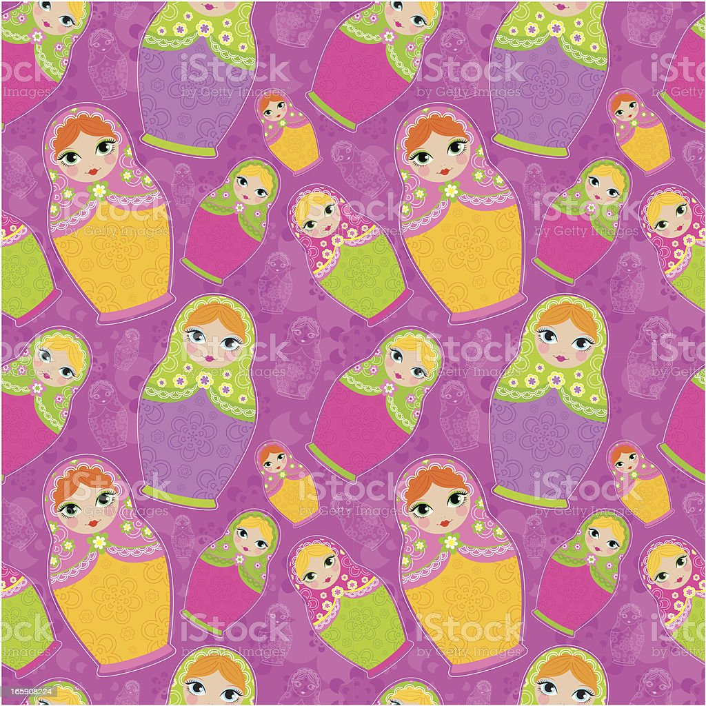 Colorful Matrioska Dolls pattern royalty-free stock vector art
