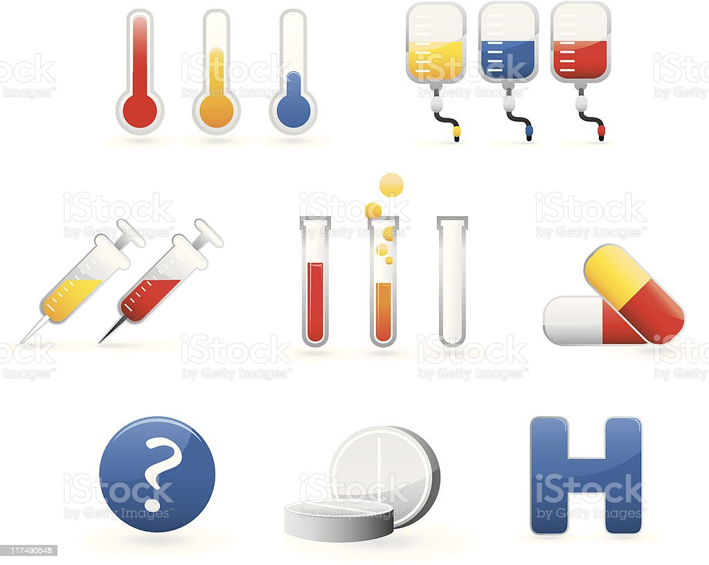 colorful medical icon set royalty-free stock vector art