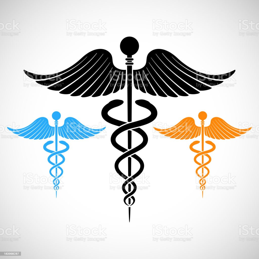 Colorful Medical Sign Caduceus vector art illustration