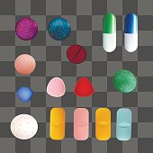 Colorful Medicine Pills and Capsules. Vector Set. Isolated Objects