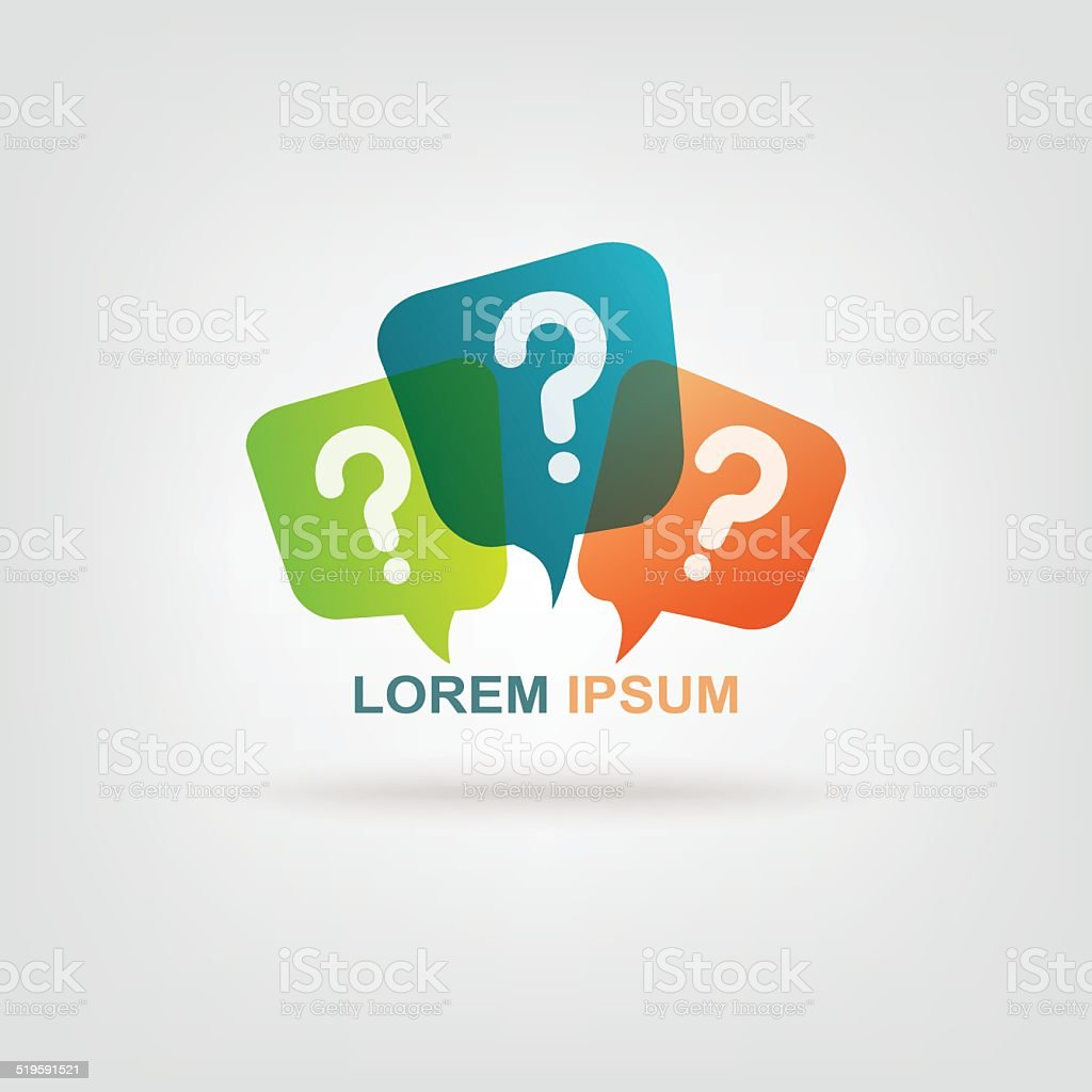 Colorful message with question mark sign vector art illustration