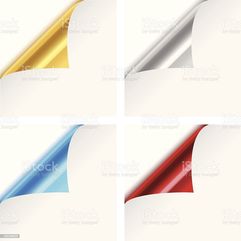 Colorful Metallic Paper Corner Folds vector art illustration