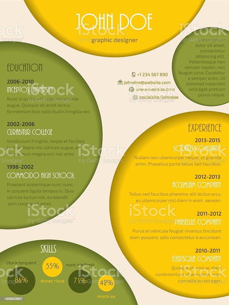 moderne color u00e9 mod u00e8le de cv cv stock vecteur libres de droits 495800862