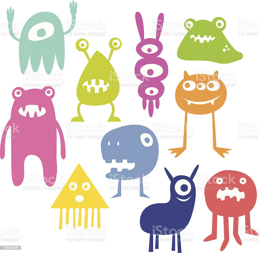 Colorful Monsters royalty-free stock vector art