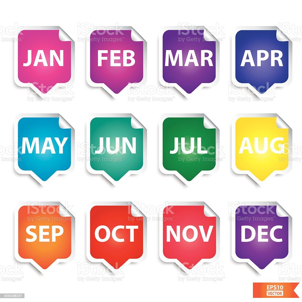 Colorful month stickers. Eps10. royalty-free stock vector art