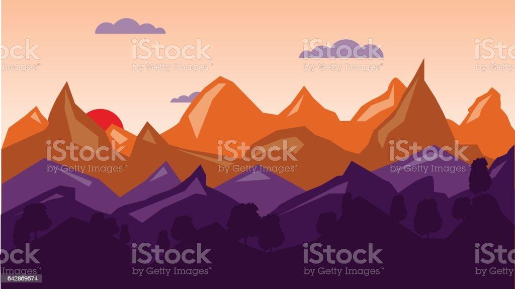 Colorful mountain background, sunrise time. vector art illustration