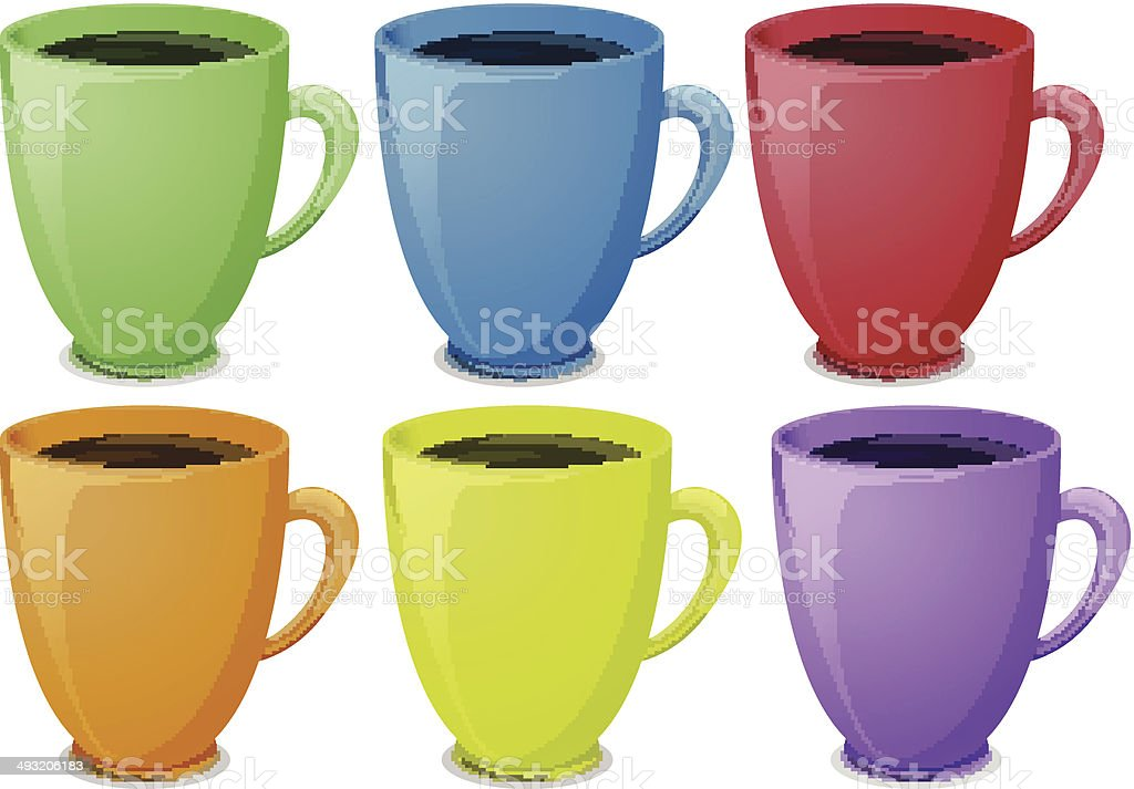 colorful mugs with coffee royalty free stock vector art - Colorful Mugs