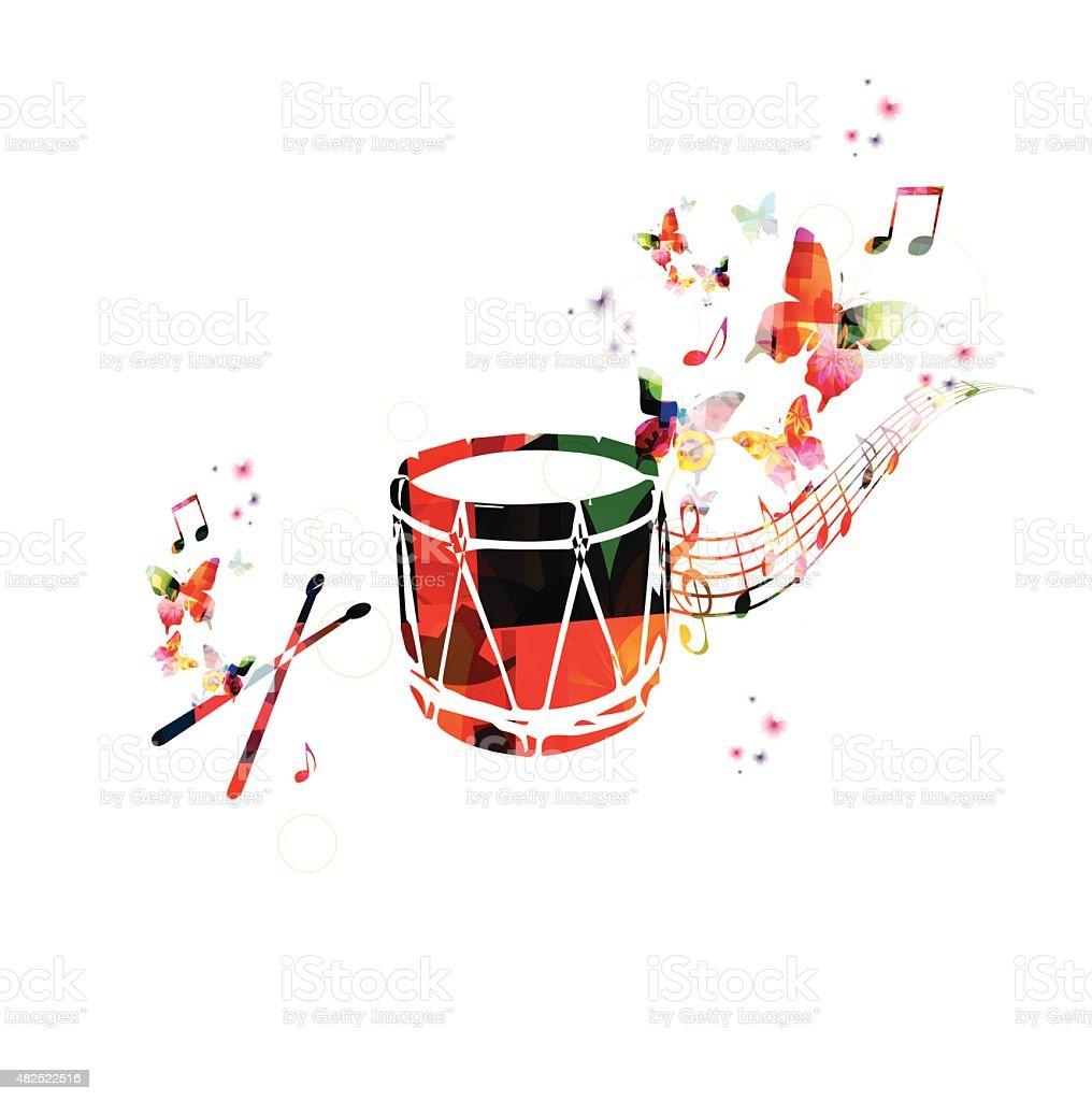 Colorful music background. Traditional Turkish drum design vector. vector art illustration