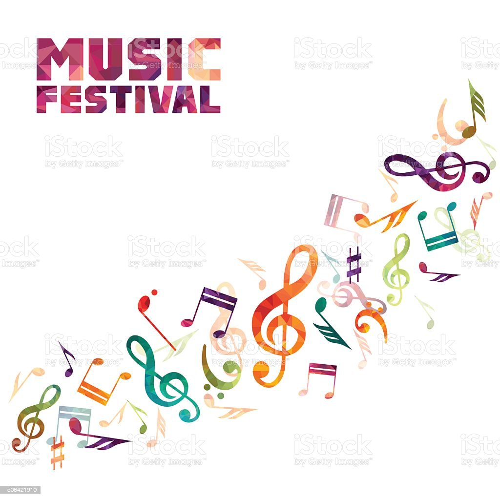 Colorful music background. vector art illustration