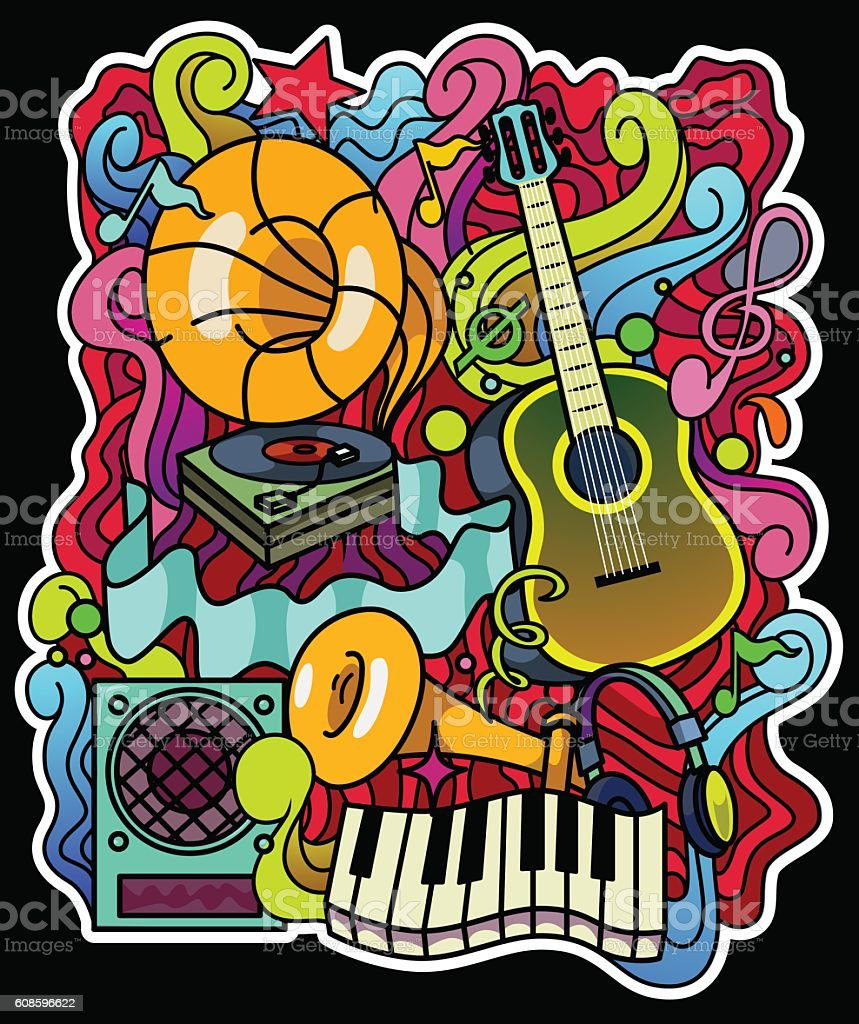 Colorful music background. Vector illustration. Place for text. vector art illustration