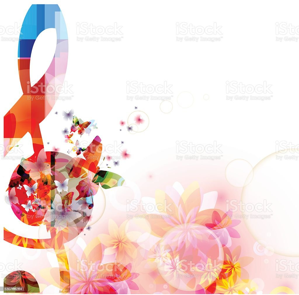 Colorful music background with G-clef and butterflies vector art illustration