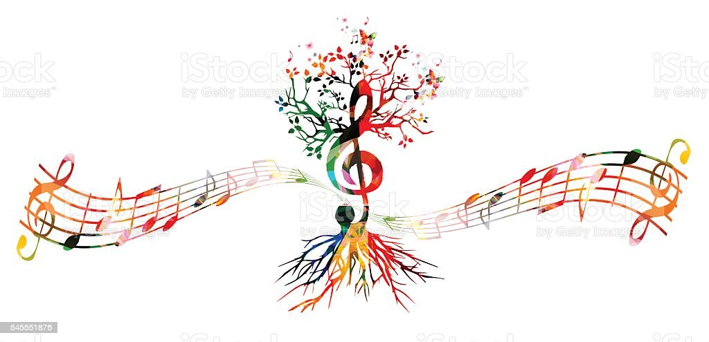 Colorful music background with G-clef tree vector art illustration