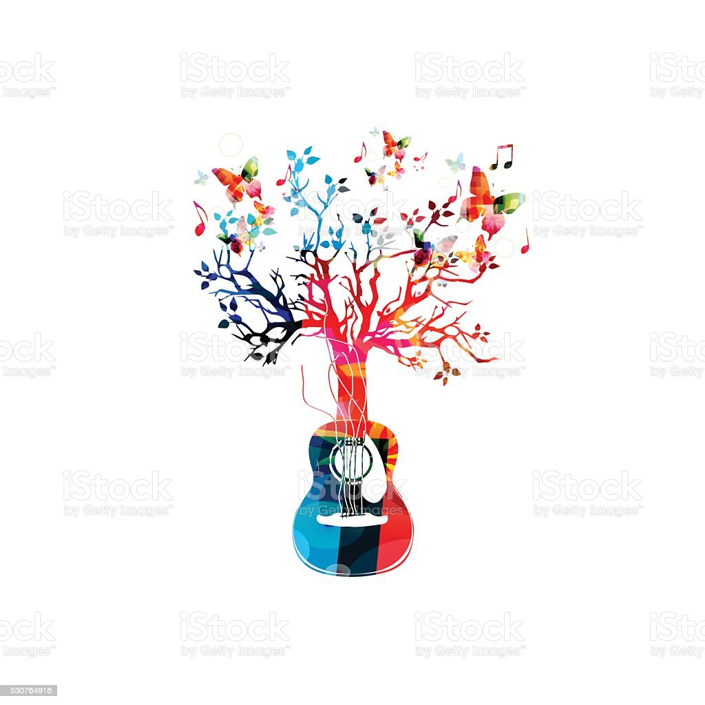 Colorful music background with guitar tree and butterflies vector art illustration