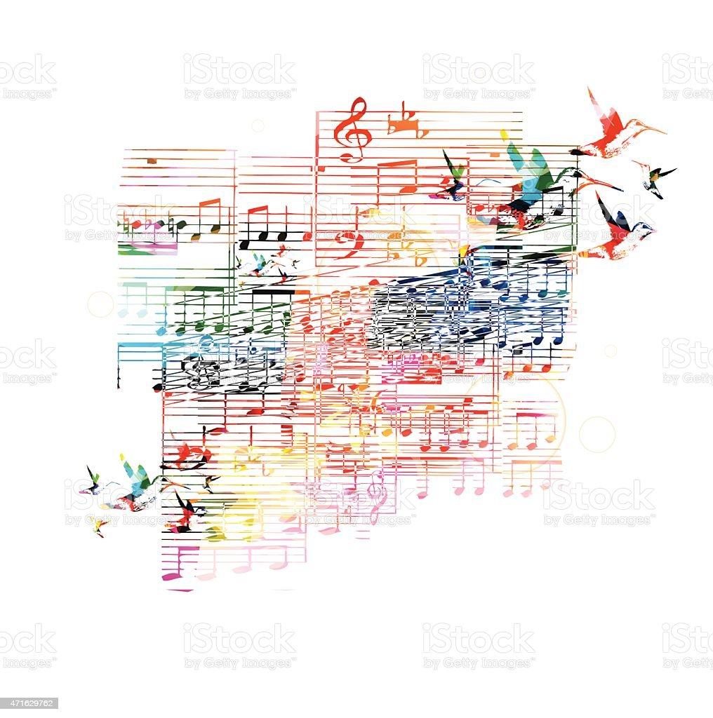 Colorful music background with hummingbirds vector art illustration
