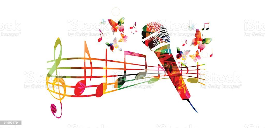 Colorful music background with microphone and music notes vector art illustration
