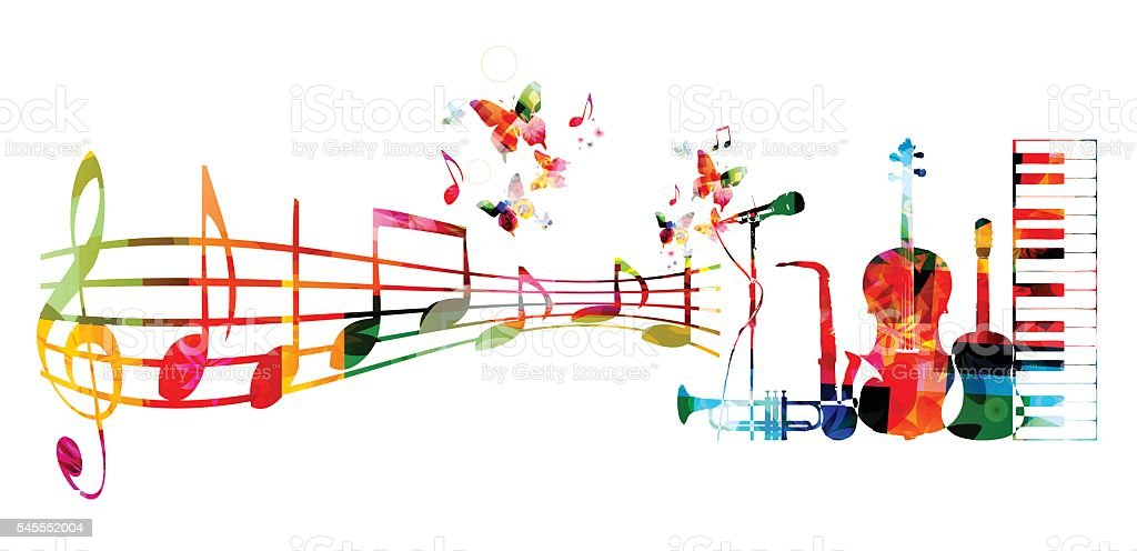 Colorful music background with music instruments and notes vector art illustration