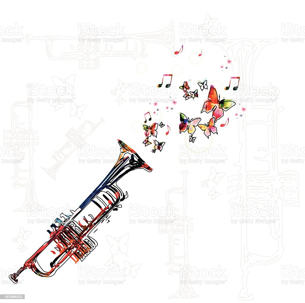 Colorful music background with trumpet vector art illustration