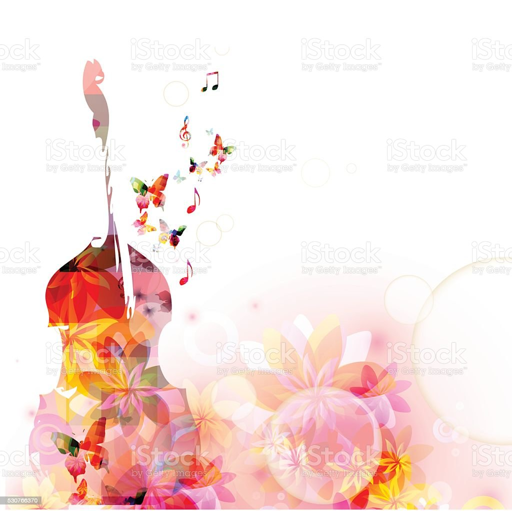 Colorful music background with violoncello and butterflies vector art illustration