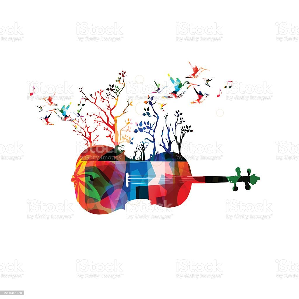 Colorful music background with violoncello and hummingbirds vector art illustration