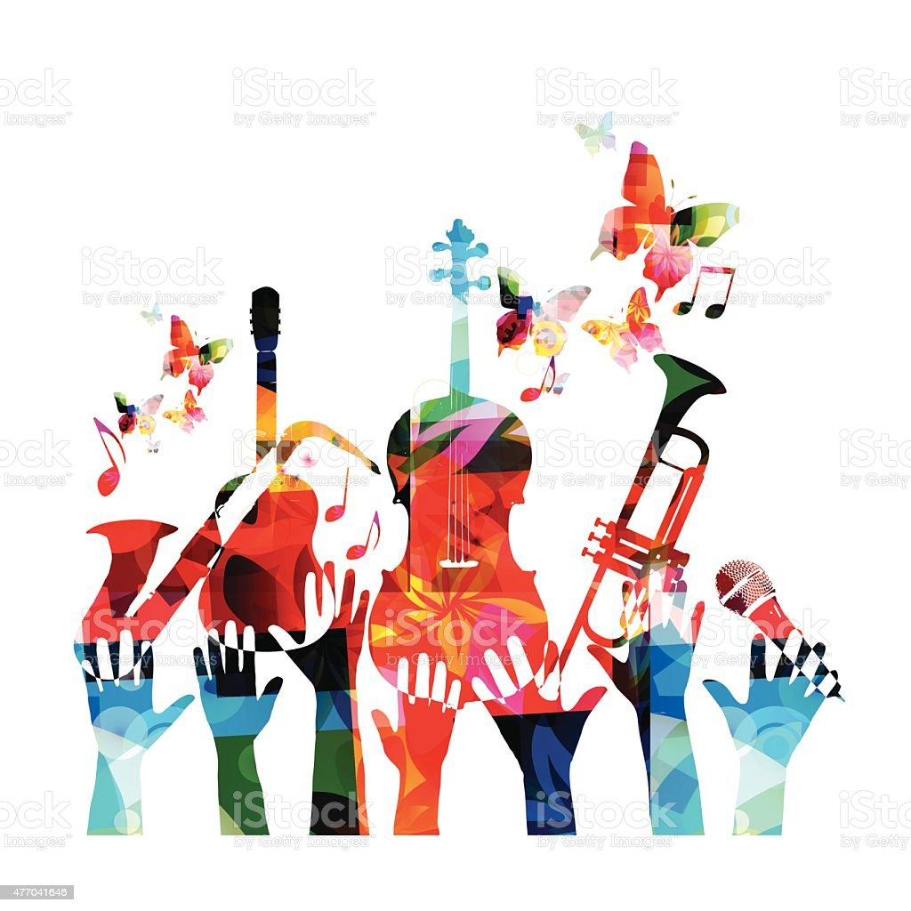 Colorful music design vector art illustration