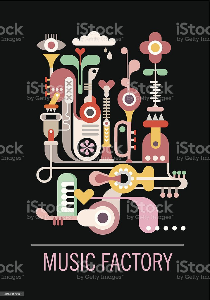 Colorful music factory abstract design vector art illustration