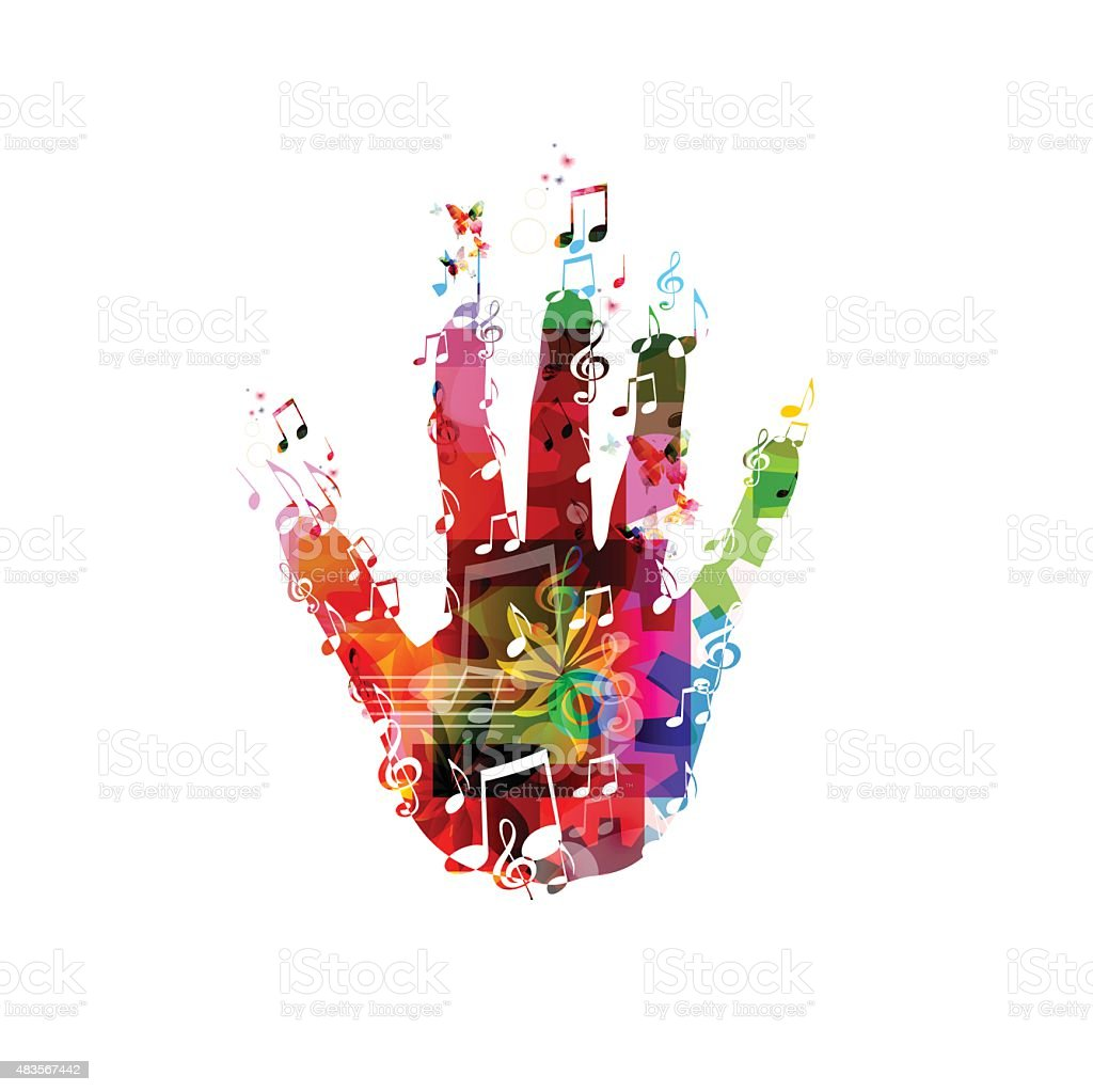 Colorful music hand vector vector art illustration