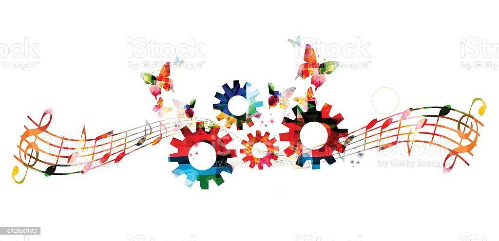 Colorful music notes background with gears vector art illustration