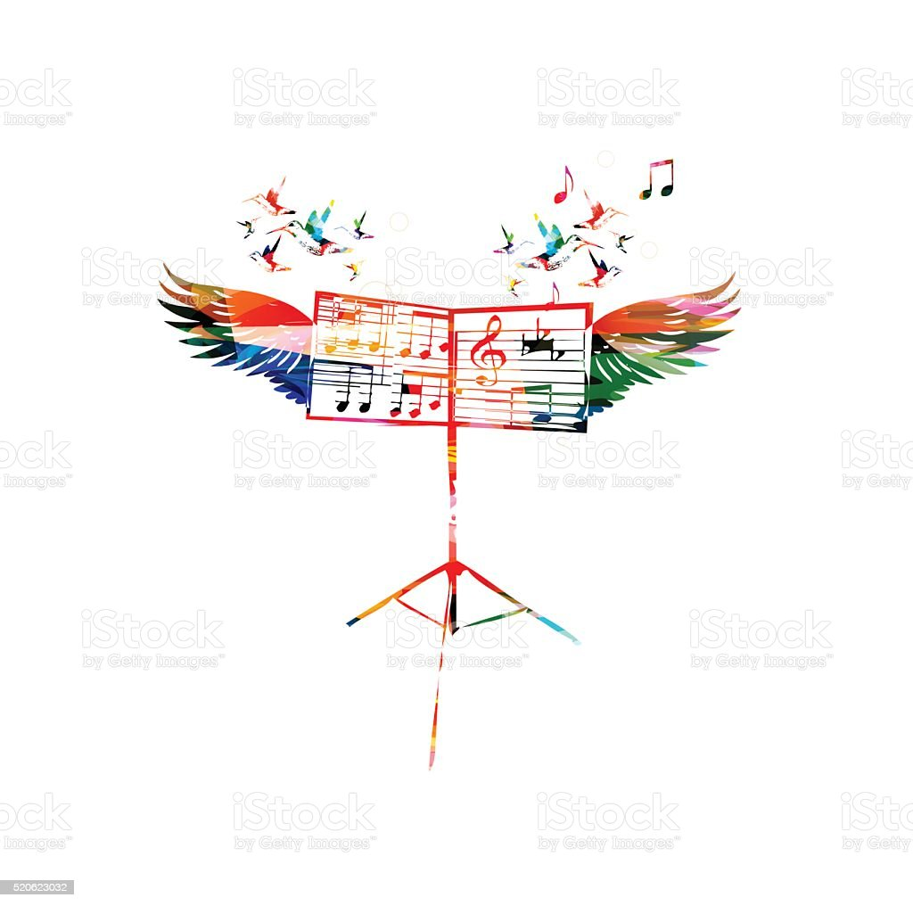 Colorful music stand with wings vector art illustration