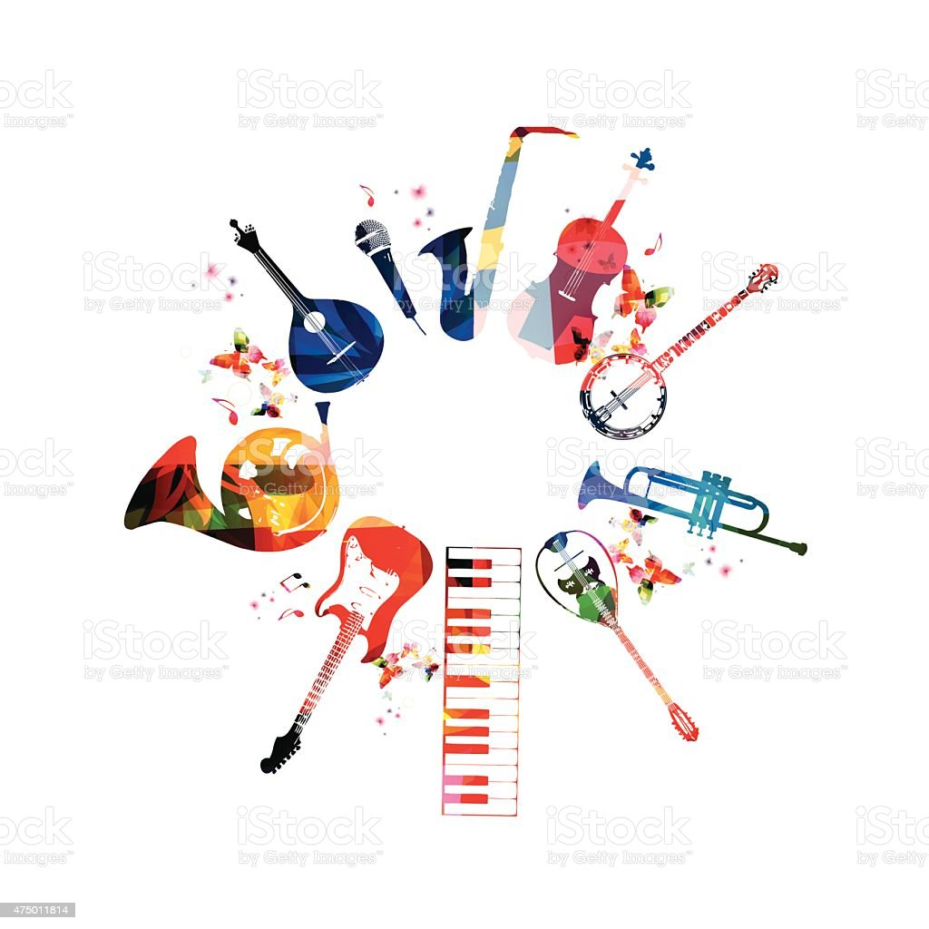 Colorful musical instruments background vector art illustration