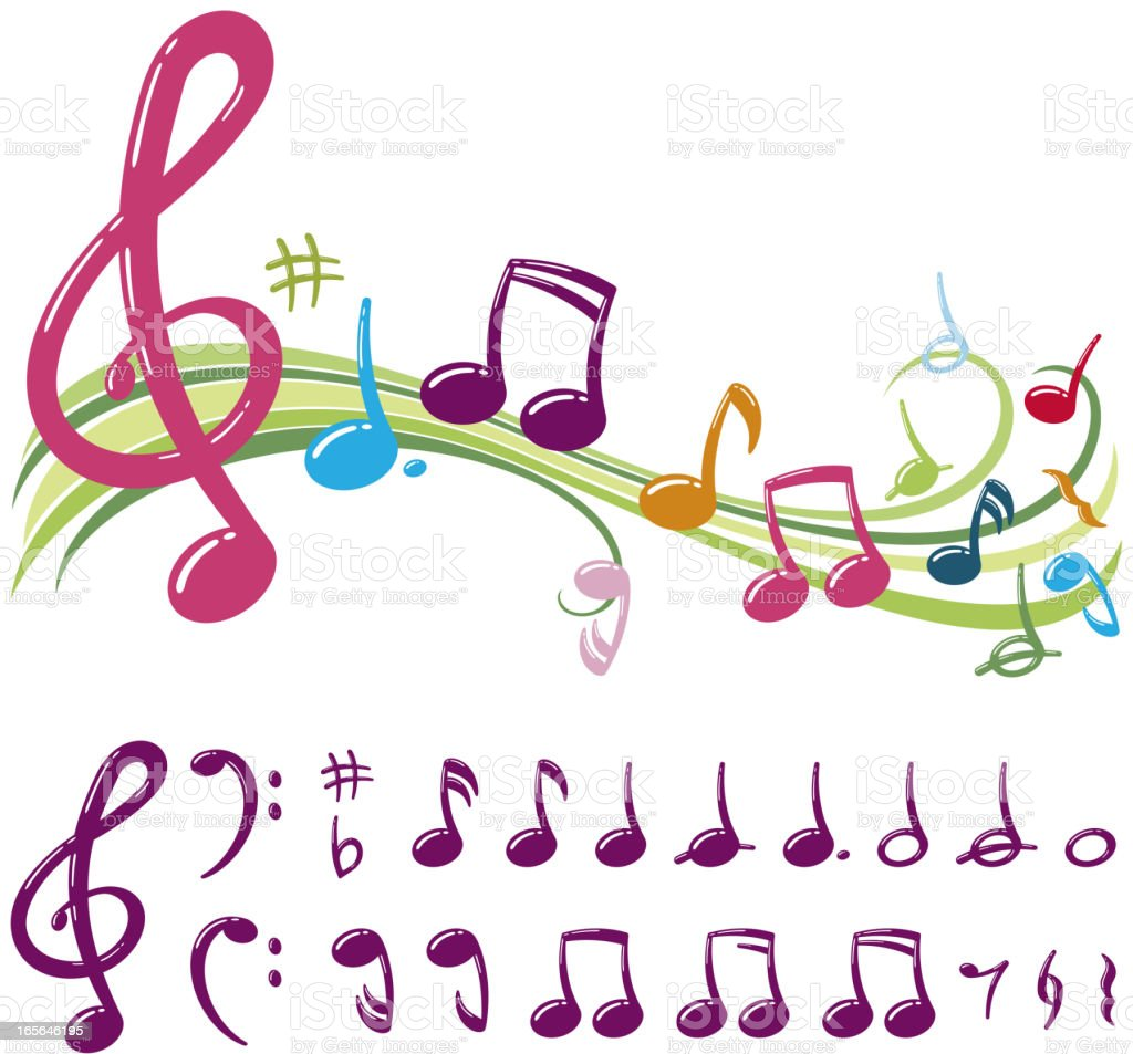 Colorful Musical Note vector art illustration
