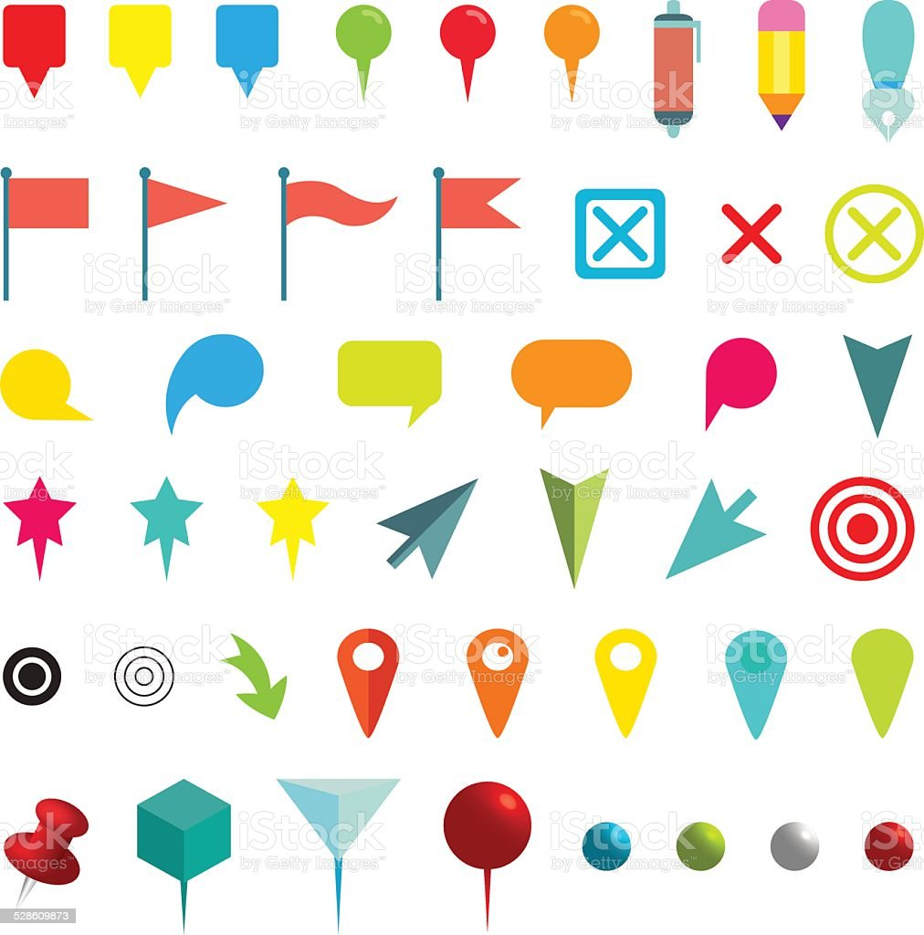 Colorful Navigation Pins. Isolated on White. Vector Illustration vector art illustration
