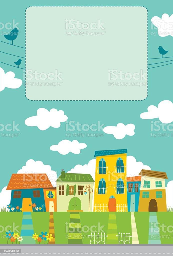 Colorful neighborhood vector art illustration