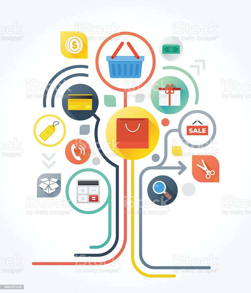 Colorful network of shopping icons vector art illustration