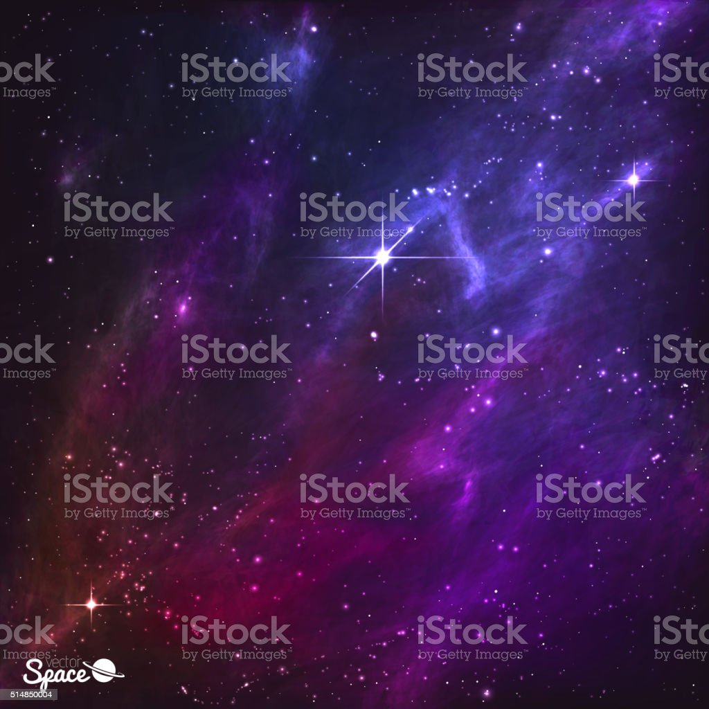 Colorful Night Skies with polaris and purple nebula. Vector Illustration vector art illustration