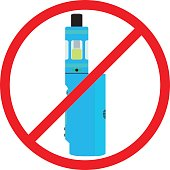Colorful no vaping sign. Prohibition sign. No smoking area