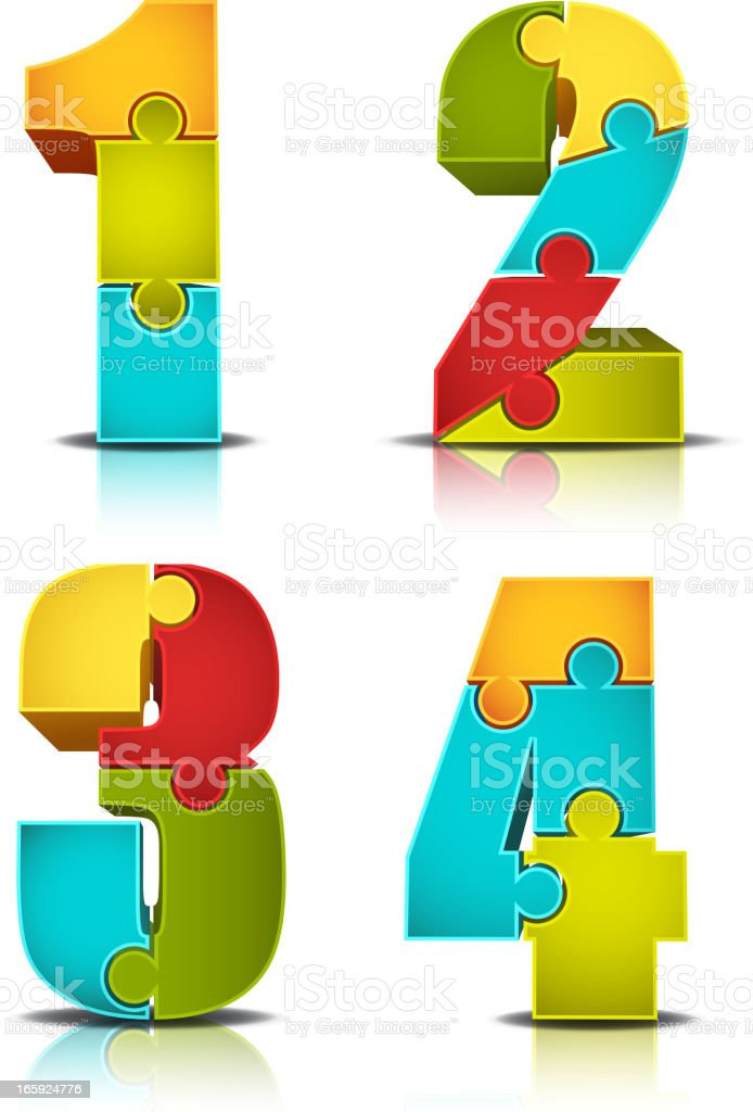 A colorful number jigsaw puzzle vector art illustration