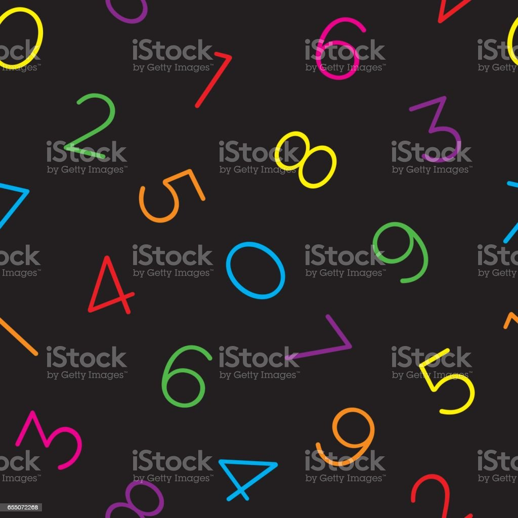 Colorful numeral seamless wallpaper pattern. vector art illustration