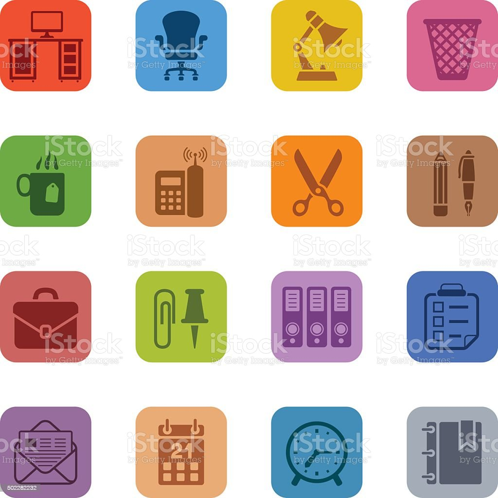 Colorful office icon set vector art illustration