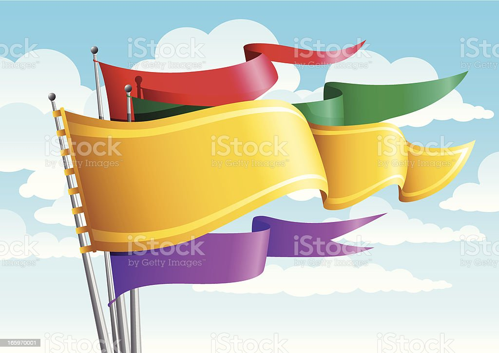 Colorful old style flags royalty-free stock vector art
