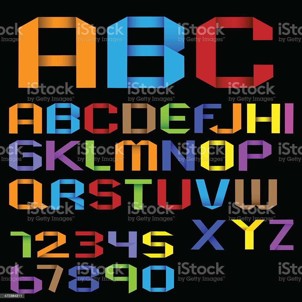 Colorful Origami Alphabet vector art illustration