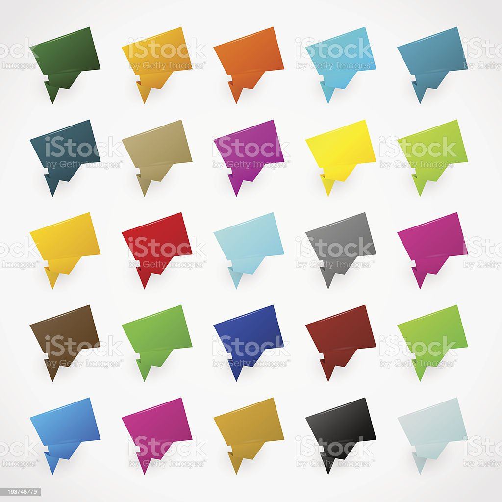 Colorful origami stickers vector art illustration